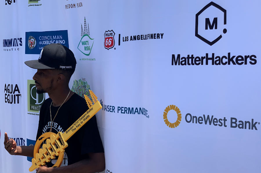 Brandon STIX Salaam-Bailey receives 3D printer Key to the City of Watts
