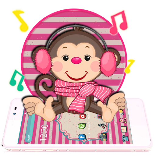 Cute Pink Monkey Theme