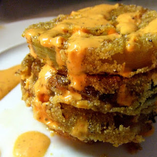 Fried Green Tomatoes With Red Pepper Aioli [Vegan].