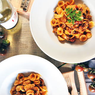 Spicy Creamy Chorizo Ragu with Tomatoes and Orecchiette