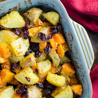 Vegan Parmesan Roasted Potatoes & Butternut Squash.