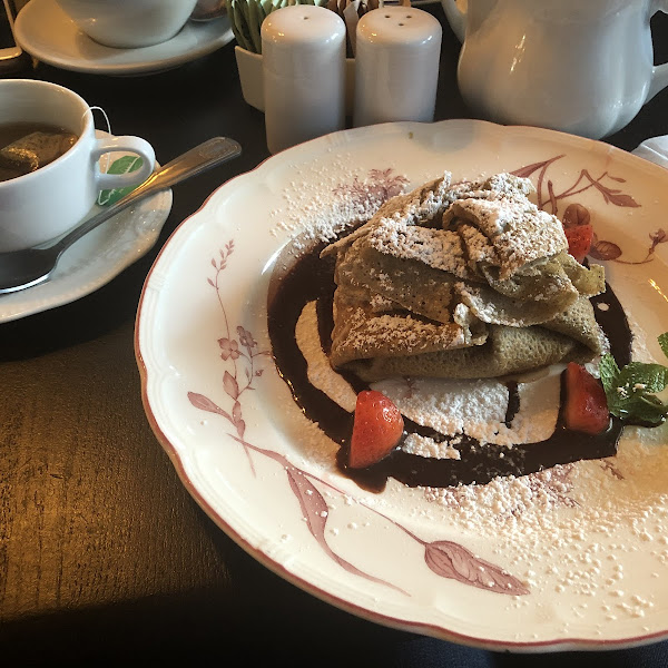 This is their chocolate crepes (you can order gluten free-it's buckwheat). I was a little nervous in eating it because I'm very sensitive, but sooooo delicious and did not bother me after eating it.