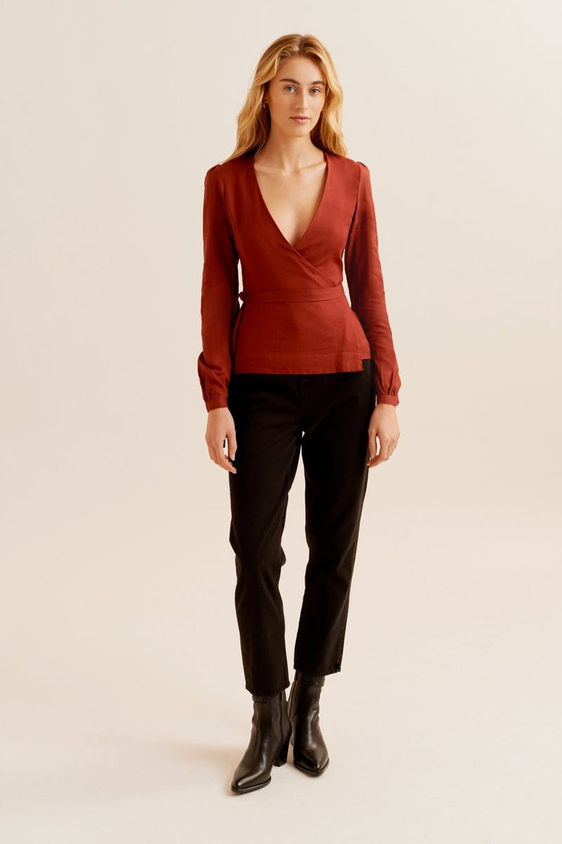 KOTN Red Cotton Wrap Skirt