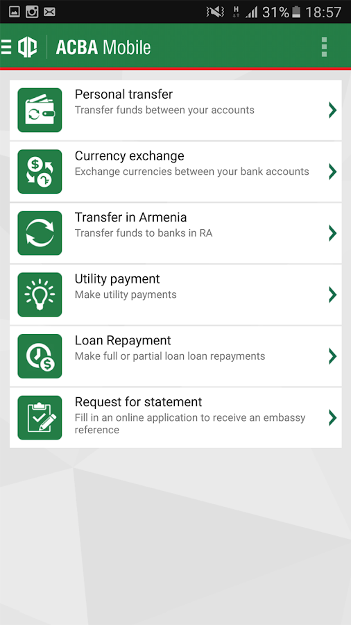 ACBA Mobile- screenshot