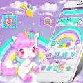 Cute Pink Unicorn Rainbow Theme