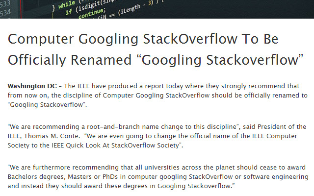 Programming to Googling StackOverflow