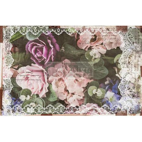 Prima Re-Design Decoupage Tissue Paper 19X30 - Dark Lace Floral