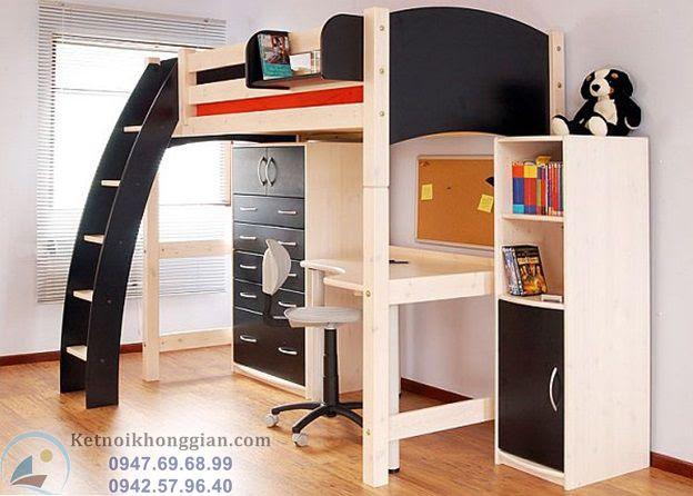 thiết kế phòng ngủ với giường tầng hiện đại