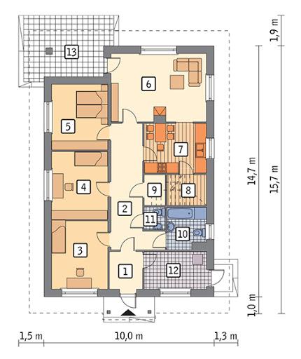 Własny dom - wariant I - C303a - Rzut parteru