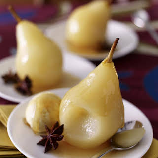 Poached Pears with Star Anise and Honey Syrup.
