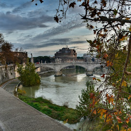 Autumn by Juan Tomas Alvarez Minobis - City,  Street & Park  Vistas ( rome, autumn leaves, autumn, bridge, river )