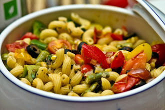 Photo: Have I mentioned how amazing my Spousal Unit (SU) is in the kitchen? This pasta salad was his creation. Those vegetables, tomatoes and herbs he used were fresh off our backyard garden (which he tends himself). We had this for supper the other day. It was really good. :)  #foodfriday curated by +Natty Netsuwan and +D. DeMonteverde #colorsonfriday curated by +Christina Lihani +Erin Henderson +Gilmar Smith +E.E. Giorgi
