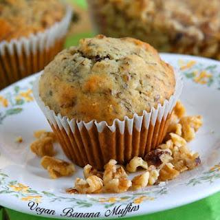 Vegan Banana Walnut Muffins.