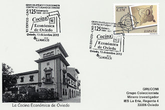 Photo: Tarjeta del matasellos de los 125 años de la Cocina Económica de Oviedo en el Centro Asturiano