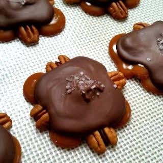 Homemade Chocolate and Caramel Pecan Turtles.