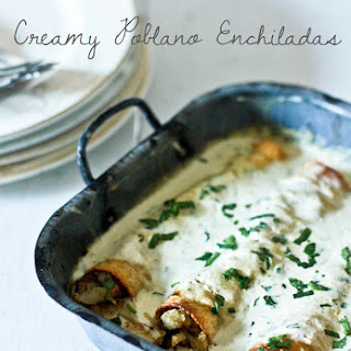 Roasted Poblano Enchiladas with Chicken (or Cauliflower)