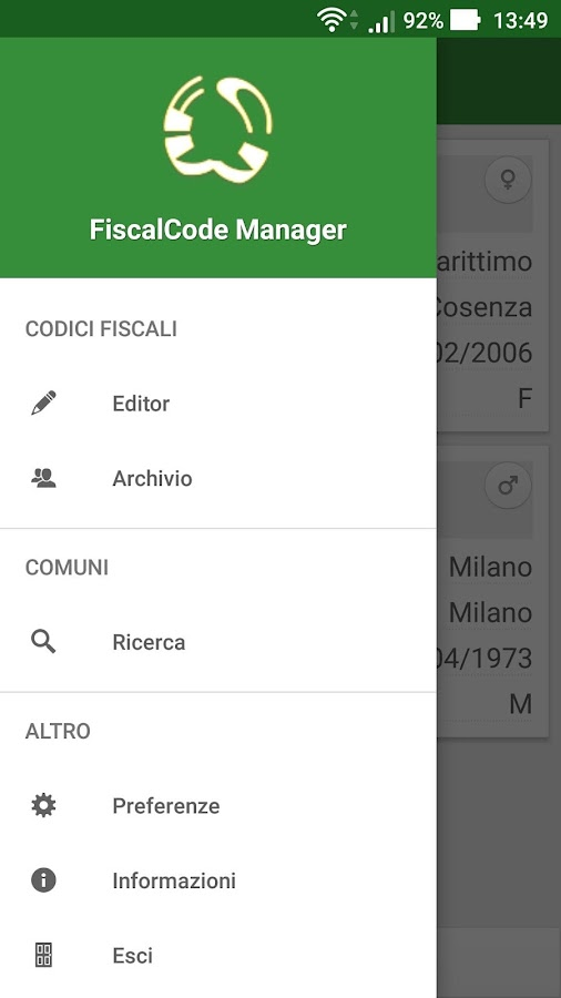 Codice Fiscale Manager- screenshot
