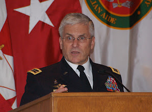 Photo: Chief of Staff of the Army Gen. George W. Casey delivers remarks at the National Security Roundtable Dinner, March 16 at Fort Leavenworth's Frontier Conference Center.