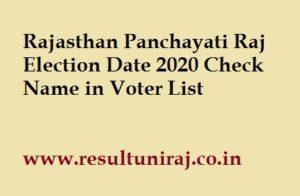 Rajasthan Panchayati Raj Election 2020