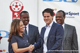 Photo: Coach McKinstry is congratulated on being named 'Coach of the Tournament' [Rwanda vs Uganda, CECAFA 2015 Final, 5 Dec 2015 in Addis Ababa, Ethiopia.  Photo © Darren McKinstry 2015, www.XtraTimeSports.net]