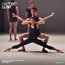 Photo: Northern Ballet dancers Martha Leebolt and Tobias Batley in Kenneth Tindall's Project #1. Dancers in the background Giuliano Contadini (left) and Benjamin Mitchell (right). Original photo Brian Slater.
