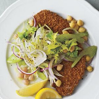 Crispy Pork Cutlets With Fennel-Chickpea Slaw.