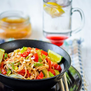 Noodles with Chili-Lime Peanut Sauce.