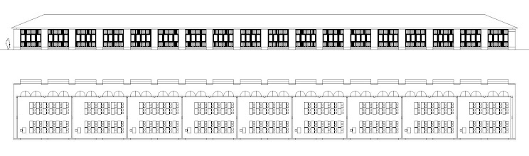 Photo: Le plan et la façade du bâtiment pédagogique