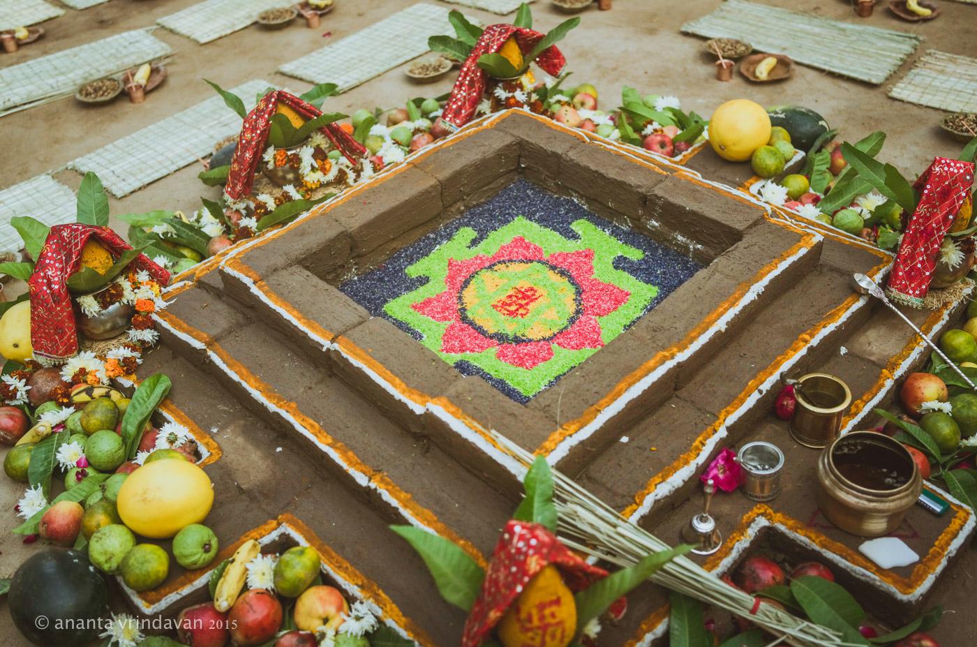 Sacrifice Kunda for Initiation from HH Srila Indradyumna Swami at Gokula