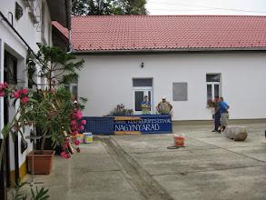 Photo: A müvelödési ház udvara. Tábornyitáskor ért véget a faluban a kékfestö fesztivál.