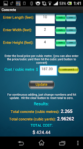 E-Z Concrete Calculator & Cost screenshot 0