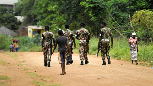 Military police patrol the streets in central Mozambique. Picture: REUTERS/GRANT NEUENBURG