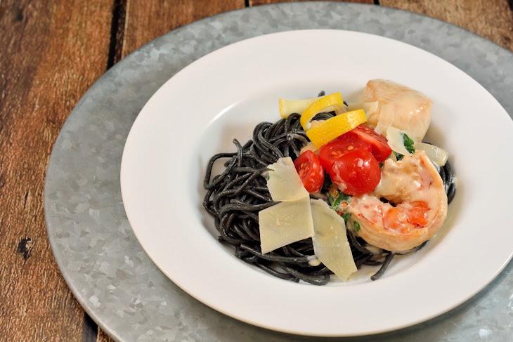 Squid Ink Pasta with White Wine Cream Sauce Recipe