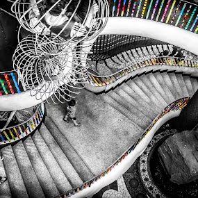 Rainbow rails by Eric Bott - Abstract Patterns ( pwccurves, stairs, color isolation, black and white, curves )