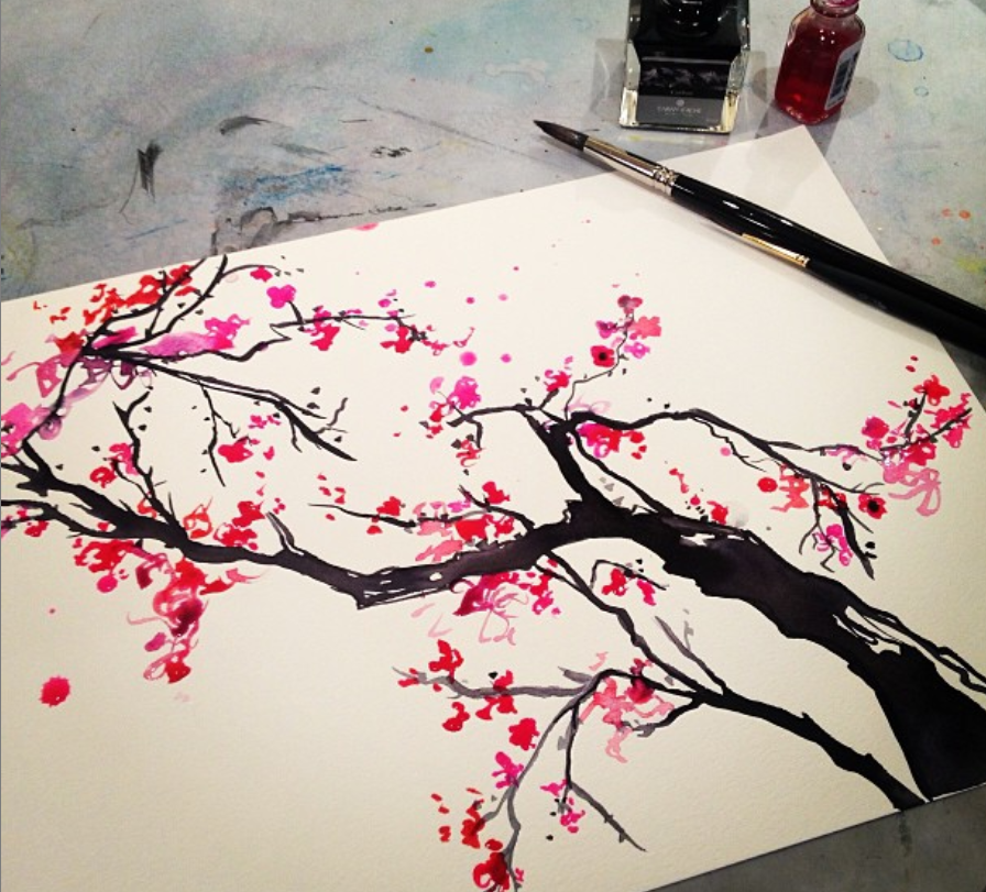 cherry blossom tree painting