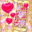 Golden luxury diamond hearts live wallpaper
