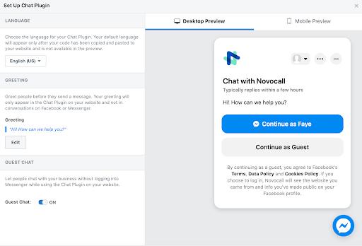 Edit Messenger Chat Plugin settings.