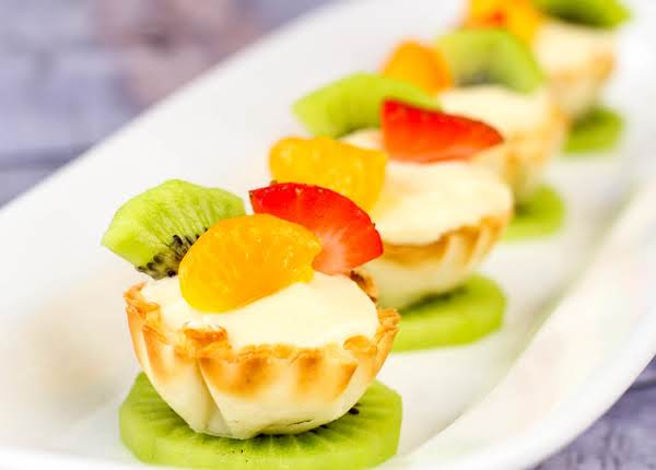 Fruit Placed On Top Of The Phyllo Fruit Tarts.