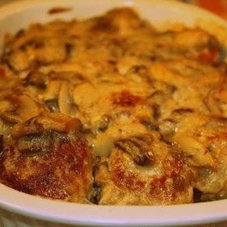 Chicken In Mushroom Sauce With Cheese Casserole