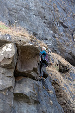 Photo: Sunny Jamshedji getting TR'd up to the P1 ledge.  We had left a rope behind on the first day as we ocould not figure out how to descend/ascend through the overgrowth. (Courtesy Ketan Vaidya)