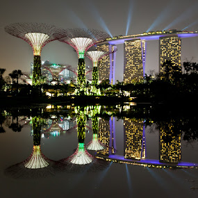 Supertree and MBS reflection at night by Chester Chen - Buildings & Architecture Architectural Detail ( reflection, supertree, mbs, singapore, jamcansing )