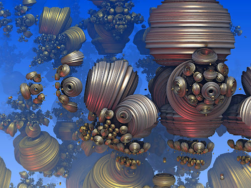 Debris Field by Pam Blackstone - Illustration Sci Fi & Fantasy ( silver, sci-fi, rendered art, space, 3d fractal, bronze, space junk, bluegold, debris, organic, mandelbulb, 3d, blue, 3d art, fractal )