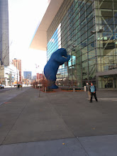 Photo: The conference center has a big blue bear.  It is a useful meeting place.