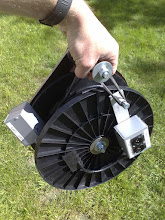 Photo: Easy to carry with secure handle. The reel can not be more compact for traveling. Elastic band made out of bicycle inner tubes holds all together, stop the reel to freewheel and make soft tension for  the cable.