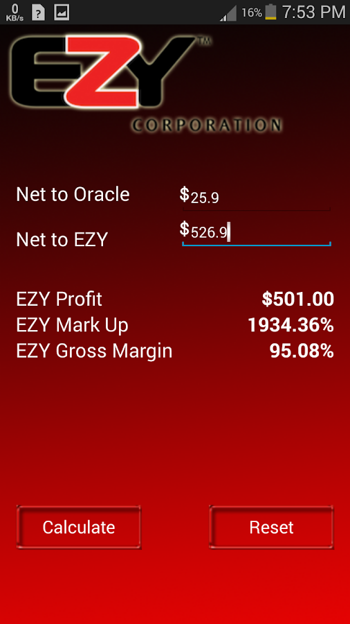 EZY Margin Calculator- screenshot