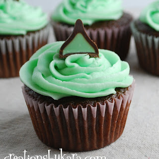 Mint Chocolate Cupcakes with Mint Fudge Filling.