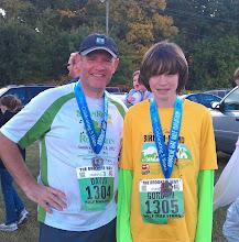 Photo: Myself & Gordon at the end of The Brooksie Way Half Marathon