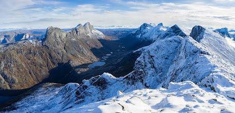 Photo: The mountain range Børvasstindene, as seen from one of it's peaks, Per Karlsatind. The mountains are located across the fjord South of Bodø in Northern Norway.