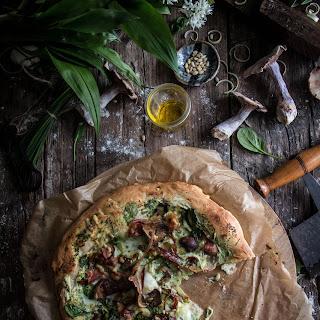 Mushroom Pancetta and Wild Garlic Pizza with Cream Cheese Recipe