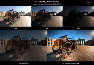 """Photo: HDR Before-and-After - Yo! Taxi!  This is the before-and-after comparison for one of the images I posted earlier this week. You can find the final photo and a lot more information at http://flic.kr/p/9amWAA.  I am currently doing the """"dirty work"""" for one of my next HDR Vertoramas: Noise reduction of each of the 20 source images. So I though, I'd throw in a little post to cheer myself (and maybe also you) up a bit.  Enjoy!  Cheers"""